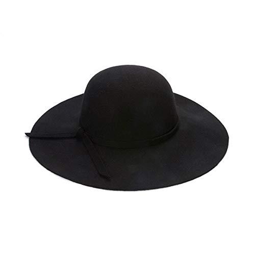Mdsfe Casual Hut mit breiter Krempe Kuppelhut hochwertige Wolle Floppy Hut Damen schwarz Cloche Hut - schwarz, 52-55cm