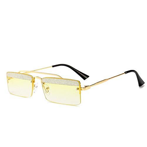 HAOMAO Gafas de Sol rectangulares pequeñas Retro para Hombre, Gafas de Sol sin Montura con Lentejuelas de Colores Dulces para Mujer 8