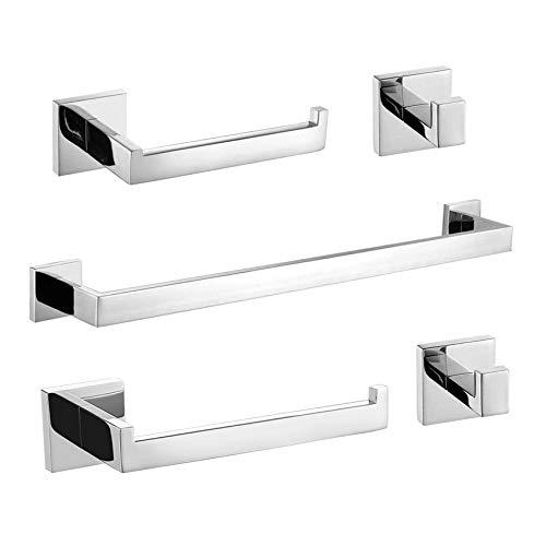 TURS Q7P-P5 - Juego de accesorios para baño (5 piezas, barra cuadrada de toallero de papel higiénico y 2 ganchos para toallas, acero inoxidable pulido SUS 304, montaje en pared, Q7P-P5)
