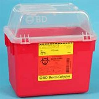 Sharps Container BD Nestable 10 X 7 X 10 Inch 8 Quart Red Funnel Lid, 305344 - Each