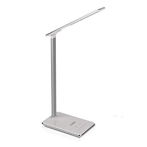 NGUP Lámpara de Escritorio LED Moderna. Flexo con Brillo y Temperatura de la Luz Regulables. Luz para Mesita de Noche, Estudio u Oficina con Cargador USB, Control Táctil y Temporizador de Apagado.
