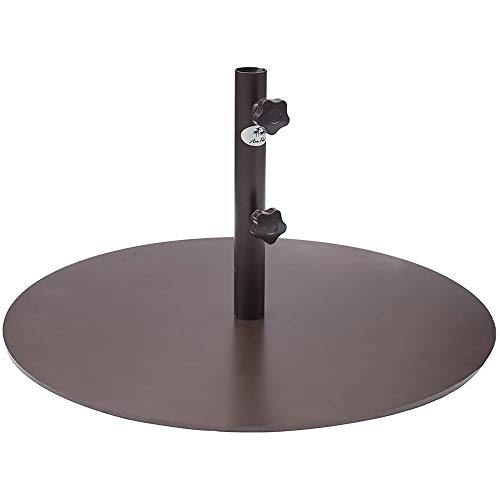 Abba Patio 55 lb Patio Umbrella Base Heavy Duty Round 28 inch Diameter Steel Outdoor Market Umbrella Base Stand for Deck, Lawn, Garden, Pool, Brown