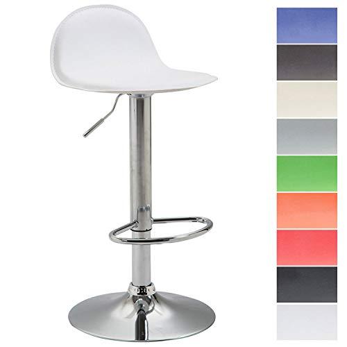 CLP Taburete Lana V2 de Cuero PU I Taburete de Bar Regulable en Altura & Giratorio I Taburete de Cocina con Respaldo I Color: Blanco