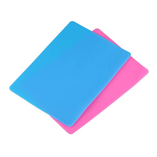 SUPVOX 2 STÜCKE Silikonfolie für Handwerk Schmuck Gießformen Matte, Lebensmittelqualität Silikon Tischset BPA FREI Spülmaschinenfest Silikonmatte (Rosa/Blau)