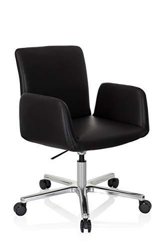 hjh OFFICE 600996 Silla de Oficina DESIGNIA Piel sintética Negro Silla de Escritorio Alta Gama Elegante