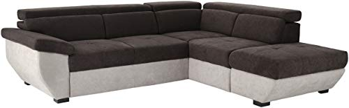 Mivano Ecksofa Speedway / Moderne Couch in L-Form mit verstellbaren Kopfteilen und Ottomane / 262 x 79 x 224 / Zweifarbiger Bezug, mud/elephant