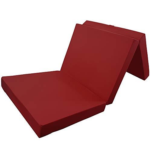 Power-Preise24 Klappmatratze in Dunkelrot - komfortable Faltmatratze - Gästematratze mit Microfaserbezug - bequemes Notbett/Gästebett, Größe:Basic 195 x 65 x 8 cm