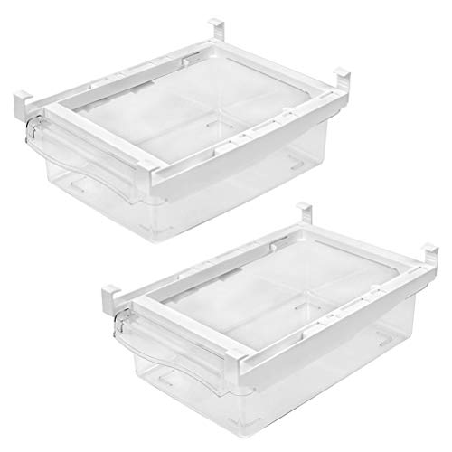 Almacenamiento de organizadores de nevera para cocina, 2 piezas cajón de nevera como contenedores de almacenamiento de nevera, cajas de almacenamiento de congelador, transparente