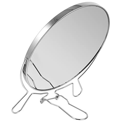 Minkissy Espejo de Maquillaje de Mesa con Soporte Espejo de Tocador Ajustable de Doble Espejo Cosmético de Mesa para Tocador de Dormitorio Decoración de Tocador (Plata)
