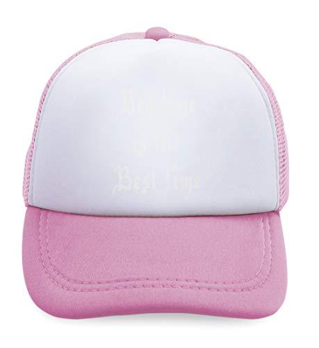 Summer Kids Trucker Hat Bed Time is Best Funny Humor Polyester Boys Girls Sun Toddler Caps Soft Pink Design Only Adjustable
