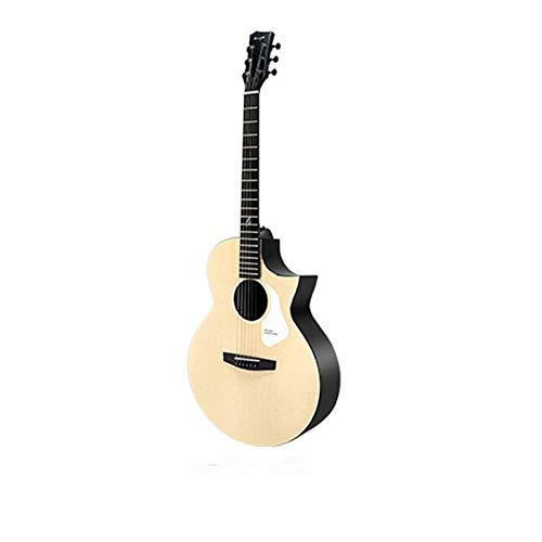Guitarra De Madera MacizaGuitarra Acústica Totalmente Sólida De 41 Pulgadas Con Funda/Correa/Cejilla/Cuerdas/Llave De AjustePara Estudiantes (Size:Small; Color:I)