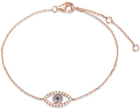FANCIME 14K Real Solid Rose Gold Evil Eye Bracelet Cubic Zirconia CZ Created Sapphire Link Minimalist product image