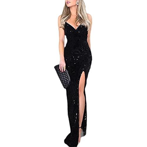 TMOYJPX Vestidos de Fiesta Largos de Noche Lentejuelas Cuello en V, Vestido Mujer Comunion Ropa de Mujer Negro (Negro, S, s)