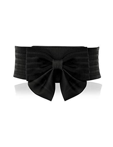 YALEMEI Women Cute Bow Wide Elastic Waist Belt - Adorable Dress Accessory (L)