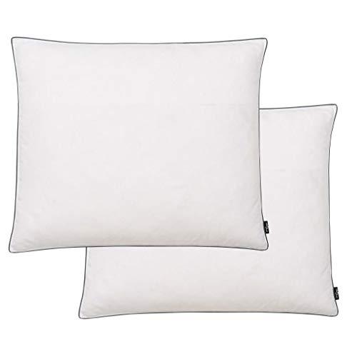 Nishore Almohadas 2 uds Relleno plumón/Plumas, Lavable en la Lavadora hasta 40ºC, Blanco 70 x 60 cm