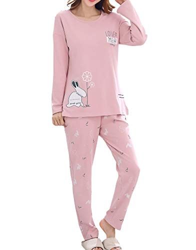 Vopmocld Young Girls Lovely Bunny Pajama Sets Cotton Long Sleeve Pjs Clothes Sleepwear Shirts, Pink, L(14)=US 11-13 Years