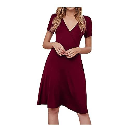 N\P - Manica corta da donna in stile boho, con motivo floreale Rosso XL