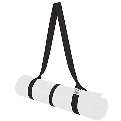 Yoga Mat Carrier Strap, Adjustable Mat Straps Sling Carrying, Doubles Holder as Yoga Strap for Stretching, Bonus Set with Fix Holder Tie (Yoga Mat not included)