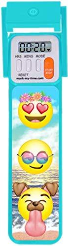 Mark-My-Time 3D Emoji Filter Digital LED Book Light Digital Bookmark Reading Timer - Aqua