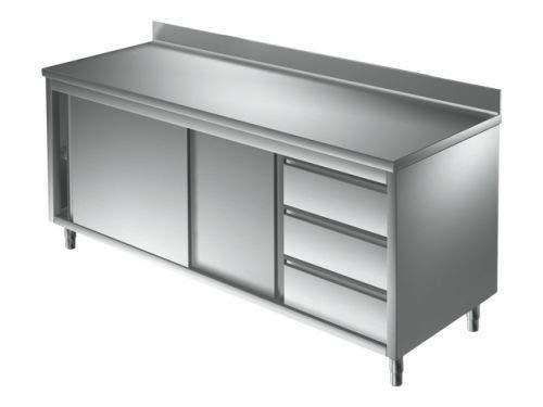 Arbeitsschrank 1,8 x 0,7 m - mit Schiebetüren, Aufkantung und Schubladen rechts