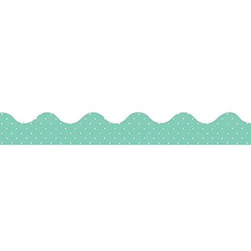 Eureka Teal Polka Dot Pattern Bulletin Board Trim and Classroom Decoration Strips, 12pcs, 2.25'' x 37''