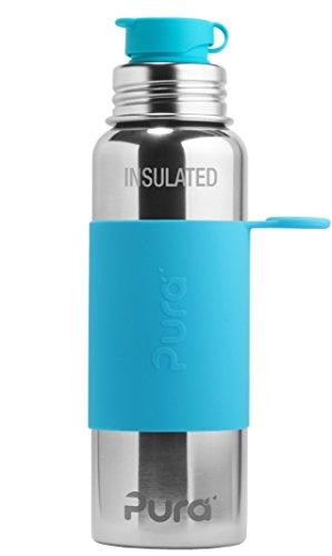 Pura Sport Edelstahl isolierte Sportflasche mit Silikon Sleeve und Big Mouth Sport Trinkverschluss 600 ml, plastikfrei Tuerkis (Aqua)