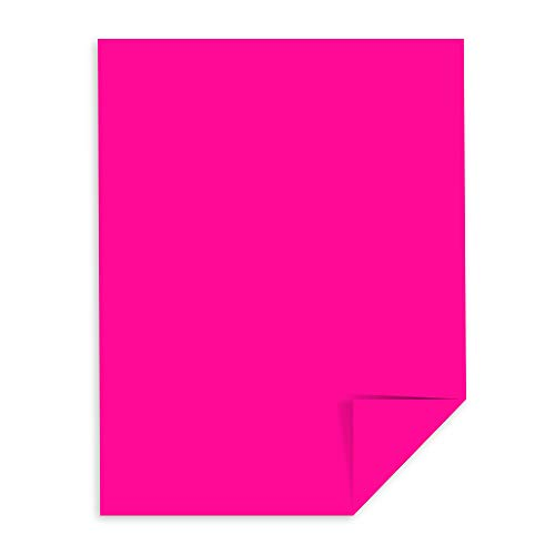 "Wausau Astrobrights Colored Cardstock, 8.5"" x 11"", 65 lb/176 gsm, Fireball Fuchsia, 250 Sheets (22881)"
