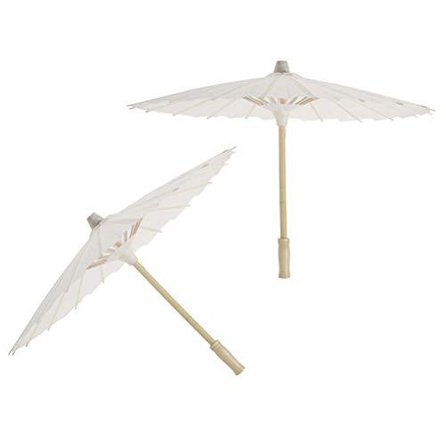 Amosfun 4 stücke weißes Papier Sonnenschirm Regenschirm chinesischen japanischen Papier Regenschirm (Durchmesser 30 cm, randoim regenschirmgriff Stil
