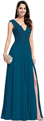 Rjer Double V-Neck Slit Chiffon Bridesmaid Dresses Long Formal Lace Appliques Prom Dress for Women A-Line,Dark Teal US12