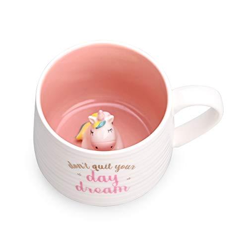 Keramik Kaffeetasse Teetassen Tier innen mit Einhorn Cartoon handgemachte Tasse für Freunde Mitmenschen oder Kinder 3D-Qualität Tier Tasse Geburtstagsgeschenk (13,5 Unzen) (Einhorn)