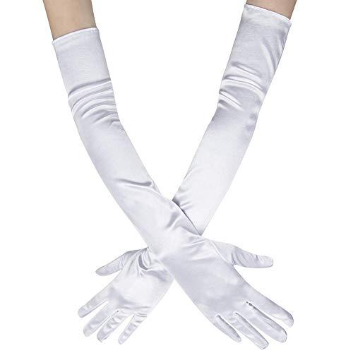 Ksnnrsng Damen Lange Raso Handschuhe Satin Classic Opera Fest Party Hochzeit Braut Handschuhe 1920er Stil Handschuhe Elastisch Erwachsene Größe bis Handgelenk Länge (52cm-weiß)