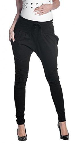 Zeta Ville - Pantalone prémaman Pannello Elastico Cavallo Basso - Donna - 583c (Nero, IT 46, XL)