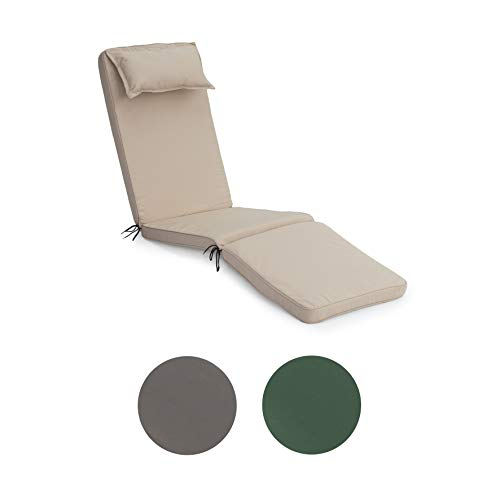 Gardenista®   Replacement Water Resistant Sun Lounger Cushion   Made in the UK   Foam Filled (Stone)