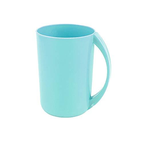 XVXFZEG Engrosamiento de plástico de baño Copa, Creativo Sencillo Gargle Copa Durable Agua Juego de Vasos Ecológico de Bebida Copa Multiuso Cepillado de Dientes con Mango de Copa (Color : Azul)