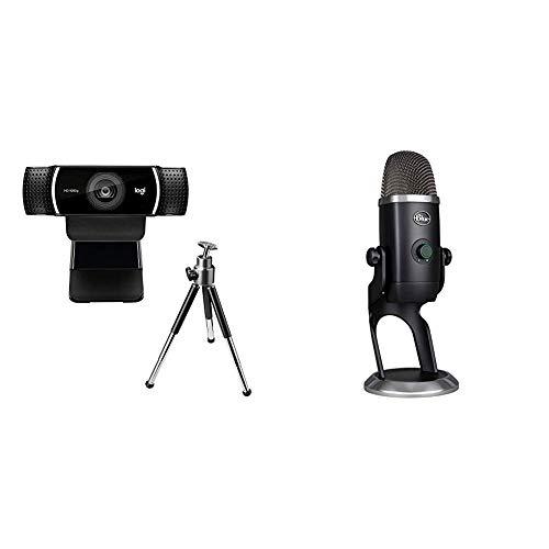Logitech Webcam C922 Pro Stream, Diffusion en Full HD 1080p avec Trépied + Blue Microphone Yeti X USB Professionnel à Condensateurs - Noir