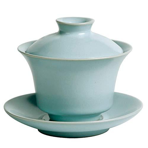 RXQCAOXIA China Traditionelle Teetasse, Keramik Gaiwan Sancai Teeschale Teeservice, Chinesisches Porzellan Kung Fu Teetasse und Untertasse mit Deckel-Cyan