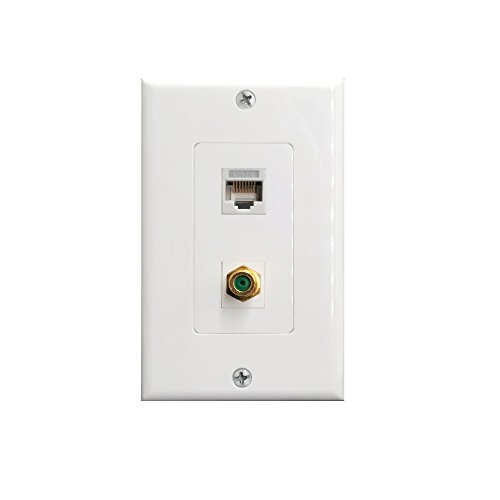 RJ45 Cat6 Ethernet Port and Gold Plated Brass Cable TV Coax F Type Port Wall Plate