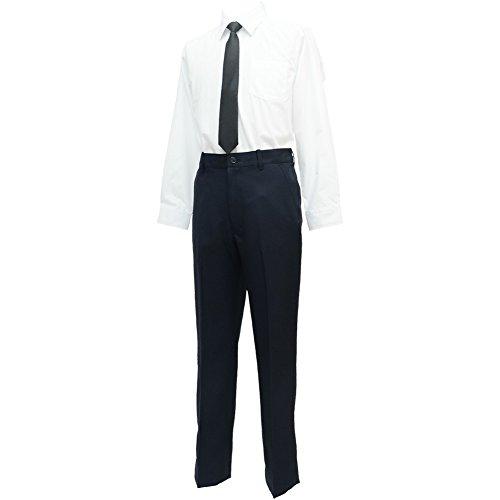 ショパン(CHOPIN) 子供 喪服 8893-5600-set2 男の子フォーマル2点セット(長袖シャツ/ロングパンツ) スーツ (ネイビー, 140)