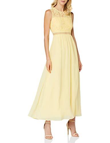 Marchio Amazon - TRUTH & FABLE Maxi Dress di Pizzo Donna, Giallo (giallo pallido)., 38, Label: XXS