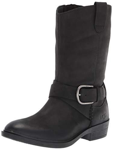 UGG womens Reeza Fashion Boot, Black Leather, 8.5 US