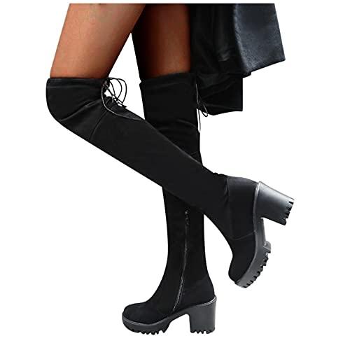 Binggong Stiefeletten Damen mit Absatz Overknees Stiefel Damen High Heels Plateau Stiefel Langschaftstiefel Winterstiefel Frauen Arbeitsstiefel Sockenstiefel Freizeitschuhe