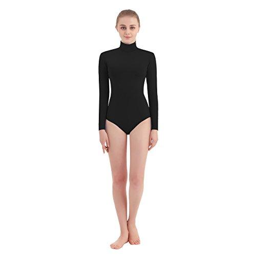SUPRNOWA Women's Turtleneck Lycra Spandex Long Sleeve Leotard (Medium, Black)