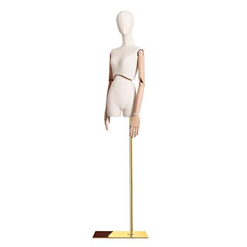 HAIPENG Maniquí De Costura Busto Hembra Cuerpo Vestido con 3 Secciones Articulación Brazos De Madera Ajustar Soporte por Ropa Joyería Monitor (Color : Gold)