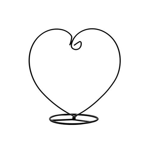 VOSAREA Heart Shaped Ornament Display-Ständer Eisen hängenden Ständer Rack-Halter für hängende Glaskugel Air Plant Terrarium Hexe Ball Christbaumkugel und Home Wedding Dekoration (schwarz)