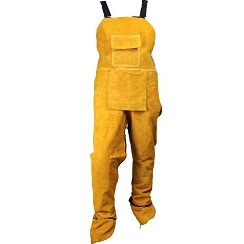 Yunobi Delantal de soldadura profesional – Delantal de piel para soldar, con pierna dividida para hombres, soldador, proteger la ropa, carpintero, herrero, jardinero, britches, pantalones