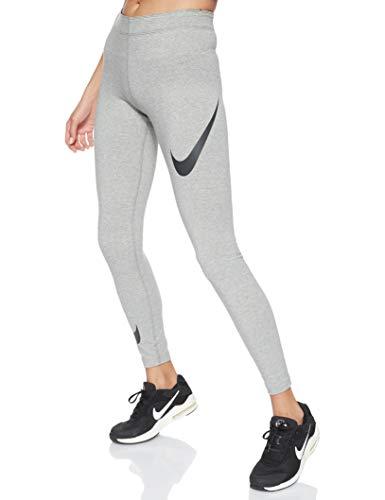 Nike Damen Sportswear Leg-A-See Leggings Swoosh, Dk Grey Heather/Black, L