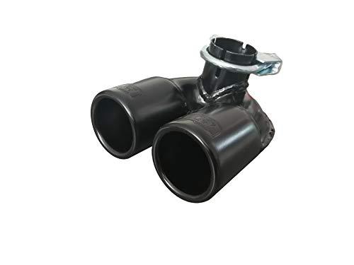 CARTUNER® Auspuffblende 450 Edelstahl schwarz matt Black Edition Doppelendrohr Endrohrblende Auspuff Blende Endrohr Sportauspuff