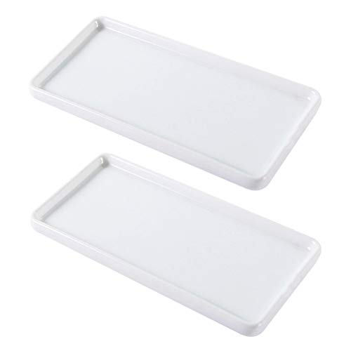 TOPBATHY 2 Pcs Kitchen Dresser Bathroom Vanity Tray Ceramic Bathroom Tray Plate Jewelry Holder for Hand Towel
