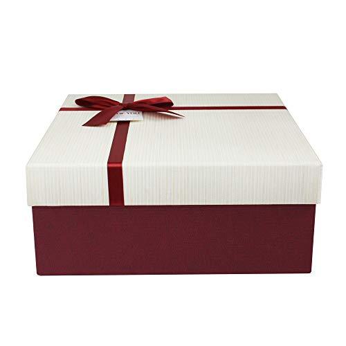 Emartbuy Rígido Lujo Caja de Regalo de Presentación en Forma Cuadrada, 20 cm x 20 cm x 8 cm, Caja Borgoña Texturizada Con Tapa Crema, Interior Marrón Chocolate y Cinta Decorativa Satinada