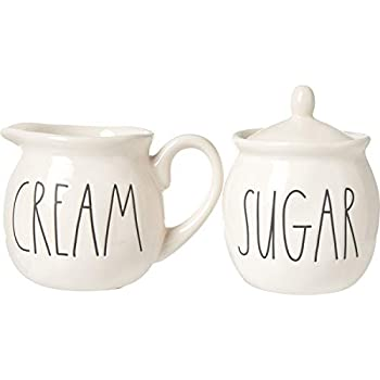 Rae Dunn by Magenta Ceramic CREAM and SUGAR in large letters 2 piece set